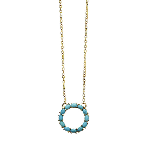 Circle Necklace - Blue Magnesite from the Necklaces collection at Argenteus Jewellery