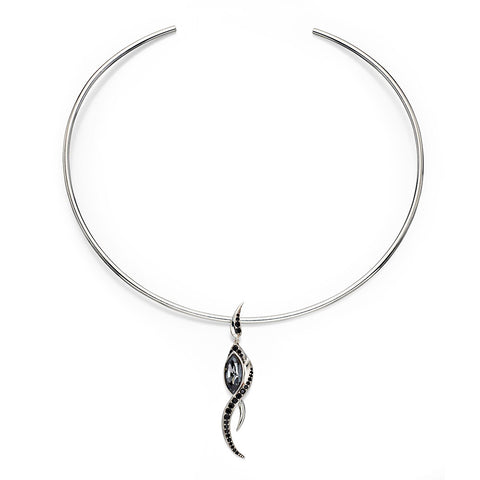 Flame Drop Necklace - Black from the Necklaces collection at Argenteus Jewellery