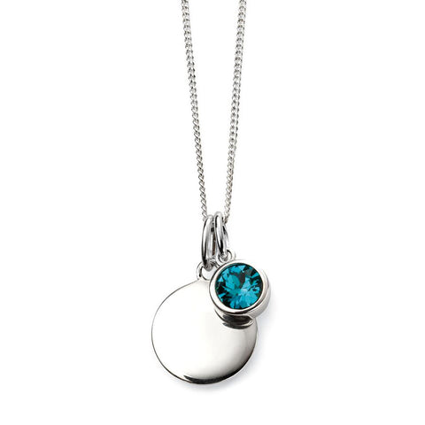 Birthstone Necklace-December Blue Zircon from the Necklaces collection at Argenteus Jewellery