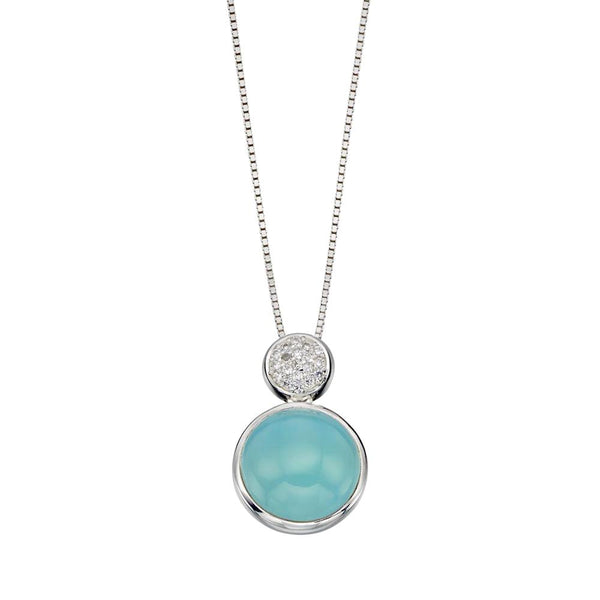 Aqua Agate Round Drop Necklace from the Necklaces collection at Argenteus Jewellery