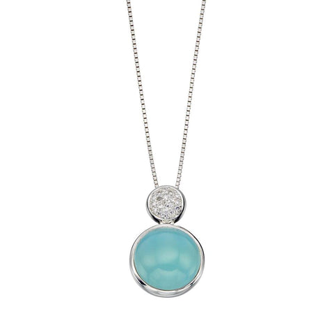 Aqua Agate Round Drop Necklace