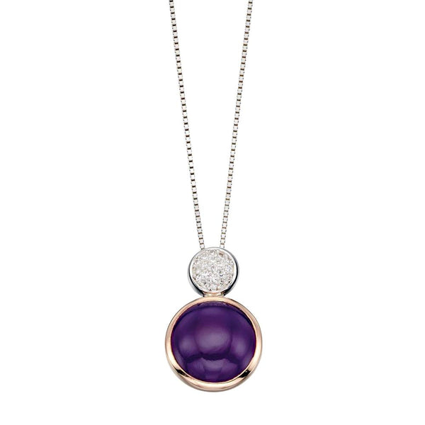 Purple Agate Round Drop Necklace from the Necklaces collection at Argenteus Jewellery