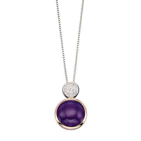 Purple Agate Round Drop Necklace