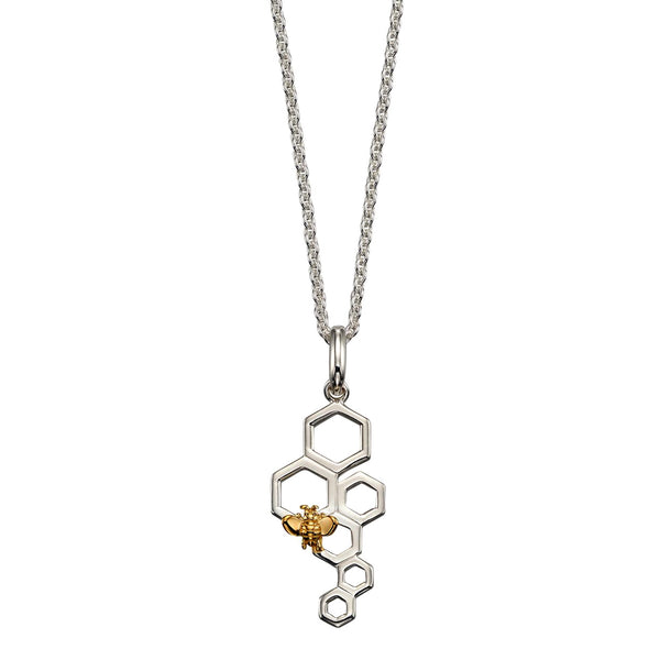 Bee and Honeycomb Necklace from the Necklaces collection at Argenteus Jewellery