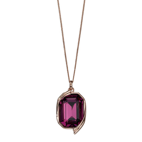 Octagon Swarovski Purple Crystal Pendant Necklace