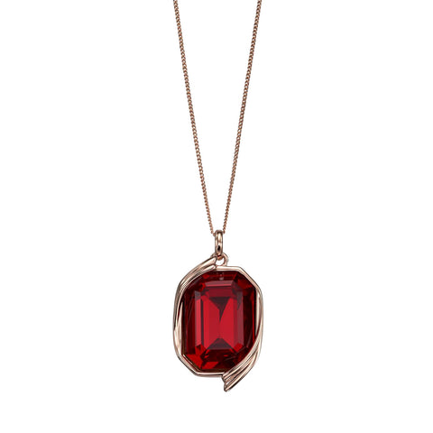 Octagon Swarovski Red Crystal Pendant Necklace from the Necklaces collection at Argenteus Jewellery