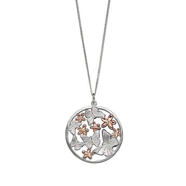 Butterflies and Daisies Circle Drop Necklace from the Necklaces collection at Argenteus Jewellery