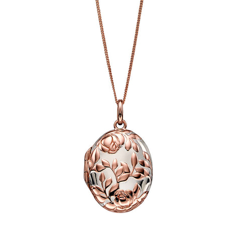 Rose Bush Locket Necklace - Rose Gold Plate from the Necklaces collection at Argenteus Jewellery