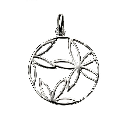 Flower Circle Pendant Necklace from the Necklaces collection at Argenteus Jewellery