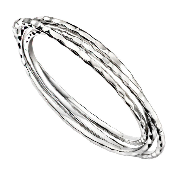 Trio Bangles - Hammer Finish from the Bangles collection at Argenteus Jewellery