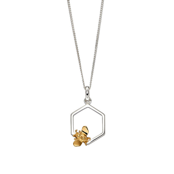 Bee and Honeycomb Necklace (small) from the Necklaces collection at Argenteus Jewellery