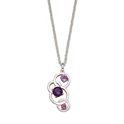 Links of Circles Amethyst Necklace from the Necklaces collection at Argenteus Jewellery
