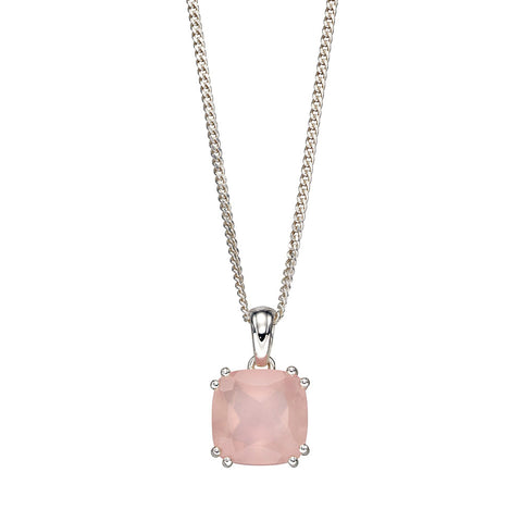 Lucent Square Rose Quartz Necklace from the Necklaces collection at Argenteus Jewellery