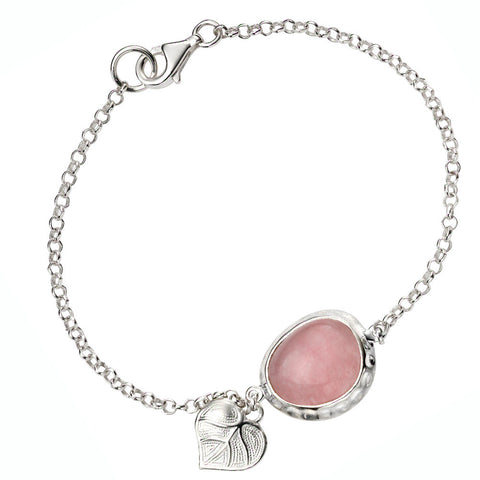 Leaf and Pink Jade Bracelet