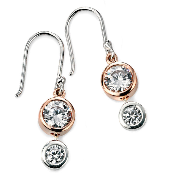 Rose Gold Plate Crystal Drop Silver Earrings from the Earrings collection at Argenteus Jewellery