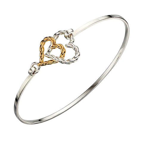 Twisted Linked Hearts Bangle from the Bangles collection at Argenteus Jewellery