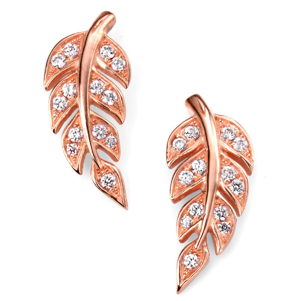 Rose Gold Plate Leaf Stud Earrings from the Earrings collection at Argenteus Jewellery