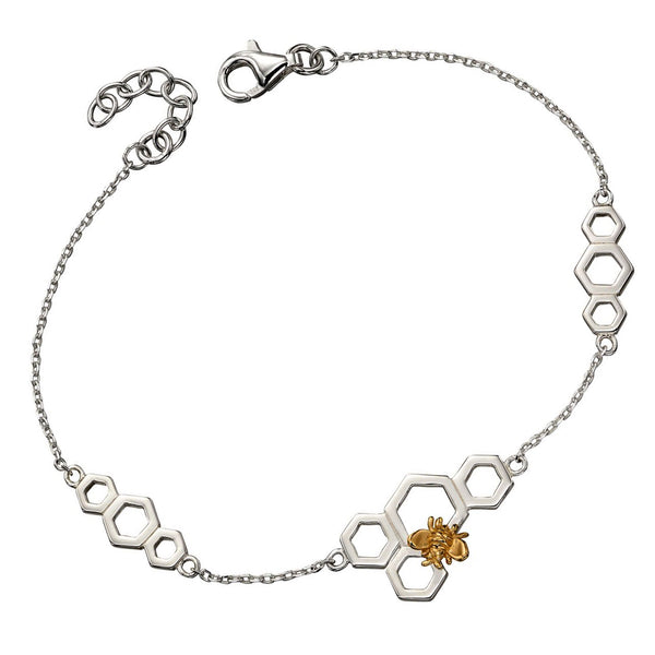 Bee and Honeycomb Necklace from the Bracelets collection at Argenteus Jewellery