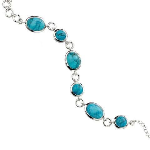 Turquoise Circle and Oval Bracelet
