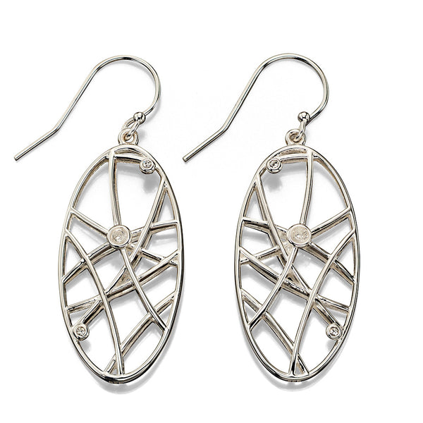 Random Lines Oval Earrings from the Earrings collection at Argenteus Jewellery