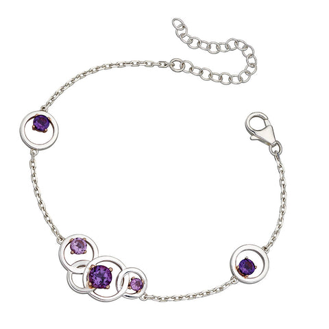 Links of Circles Amethyst Bracelet from the Bracelets collection at Argenteus Jewellery