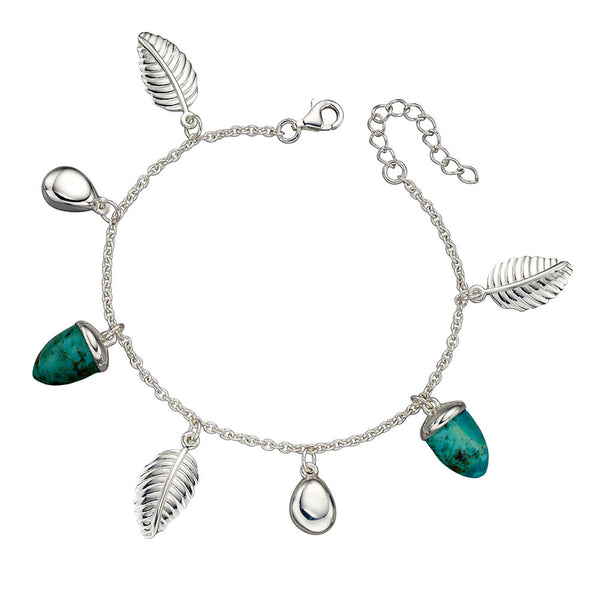 Acorn and Leaf Bracelet - Turquoise from the Bracelets collection at Argenteus Jewellery