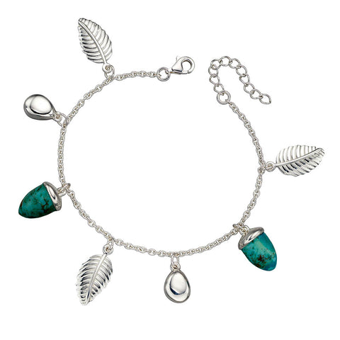Acorn and Leaf Bracelet - Turquoise