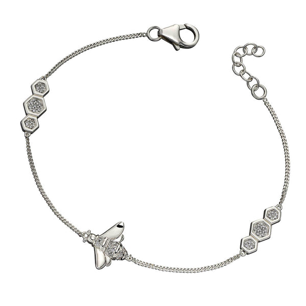 Bee And Honeycomb Crystal Bracelet from the Bracelets collection at Argenteus Jewellery