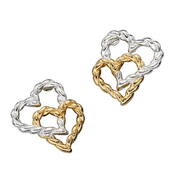 Twisted Linked Hearts Stud Earrings from the Earrings collection at Argenteus Jewellery