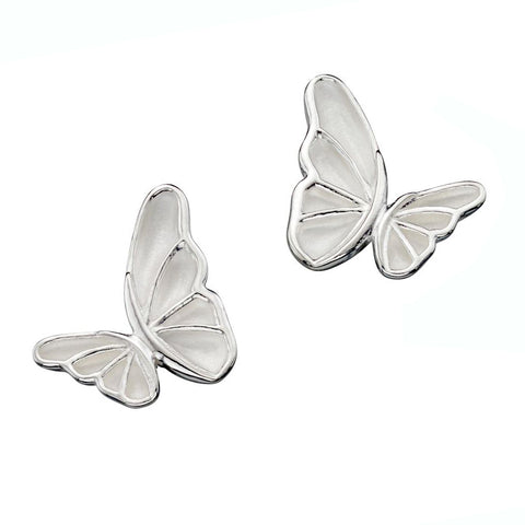 Butterfly Satin Finish Stud Earrings from the Earrings collection at Argenteus Jewellery