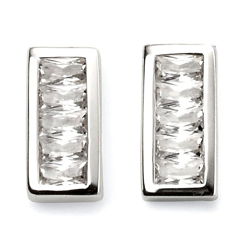 Rectangle Bar Crystal Stud Earrings