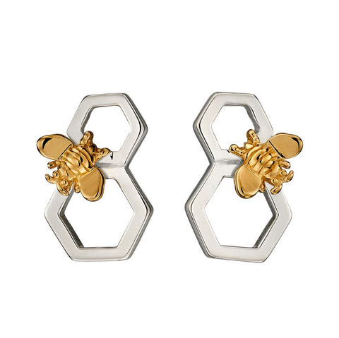 Bee and Honeycomb Stud Earrings