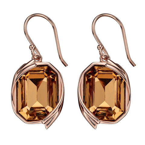 Octagon Swarovski Champagne Crystal Earrings