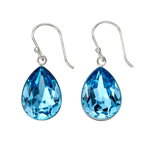 Blue Swarovski Teardrop Earrings