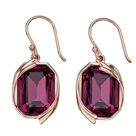 Octagon Swarovski Purple Crystal Earrings