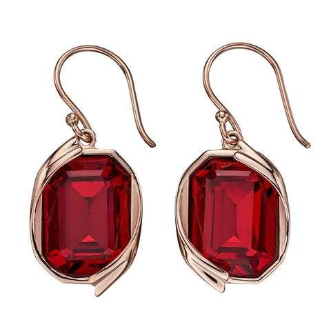 Octagon Swarovski Red Crystal Earrings from the Earrings collection at Argenteus Jewellery