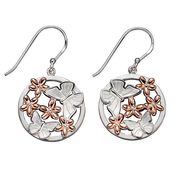 Butterflies and Daisies Circle Drop Earrings from the Earrings collection at Argenteus Jewellery