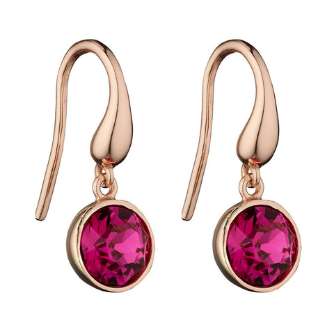Rainbow Pink Crystal Drop Earrings - Fuschia from the Earrings collection at Argenteus Jewellery