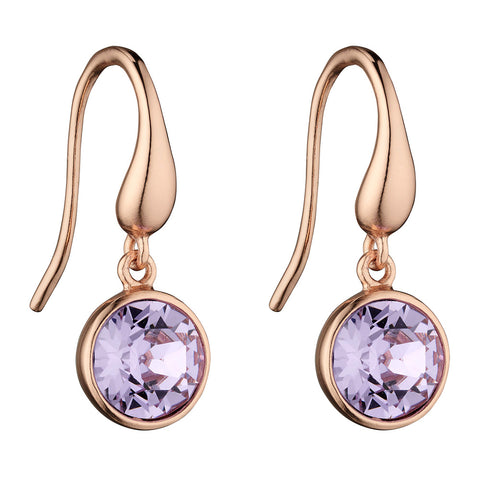 Rainbow Pink Crystal Drop Earrings - Lilac