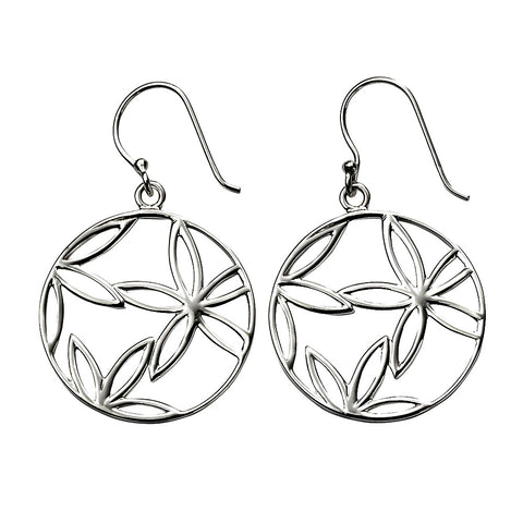 Flower Circle Drop Earrings from the Earrings collection at Argenteus Jewellery