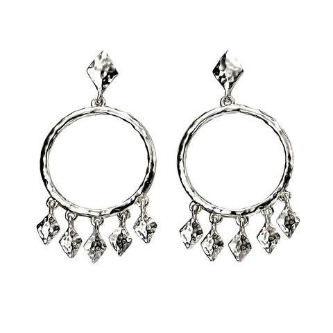 Lozenge Chandelier Drops Earrings - Hammer Finish from the Earrings collection at Argenteus Jewellery