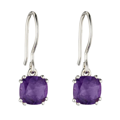 Lucent Square Amethyst Drop Earrings