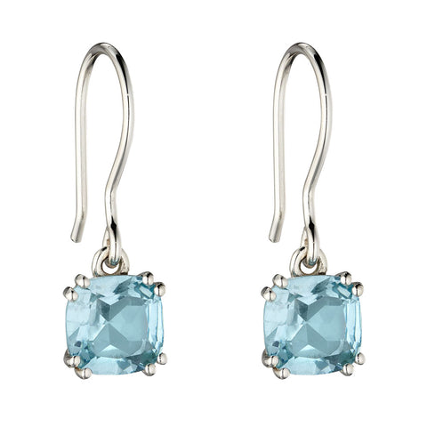 Lucent Square Blue Topaz Drop Earrings