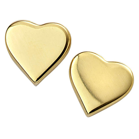 Sweetheart Stud Earrings - Gold Plate