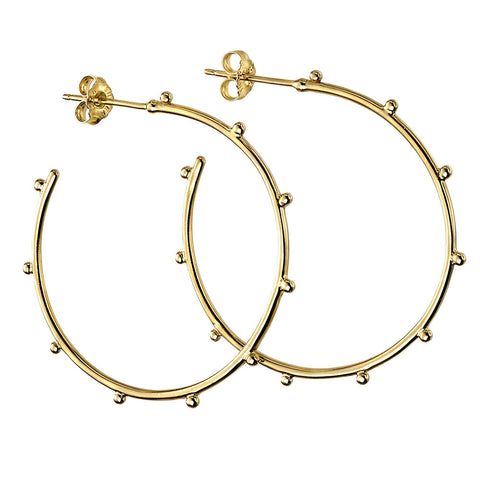 Bead Studded Hoop Earrings - Gold Plate