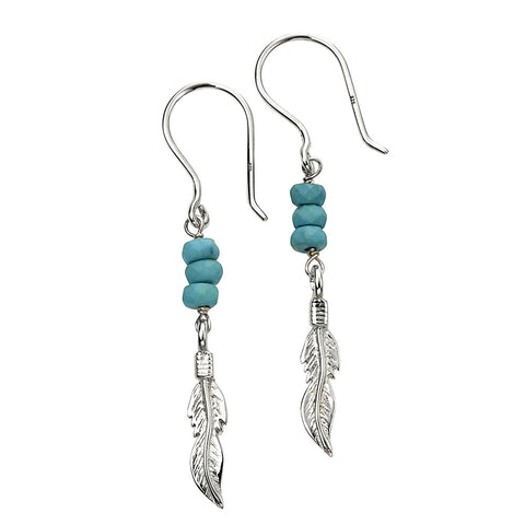 Feather Charm Earrings - Blue Magnesite