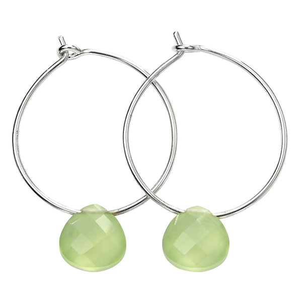 Chunky Teardrop Hoop Earrings - Green Chalcedony from the Earrings collection at Argenteus Jewellery