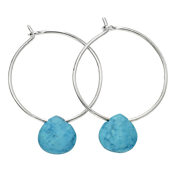 Chunky Teardrop Hoop Earrings - Blue Magnesite from the Earrings collection at Argenteus Jewellery