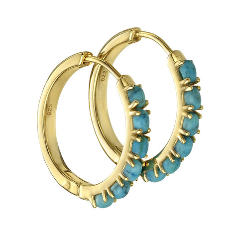 Circle Hoop Earrings - Blue Magnesite