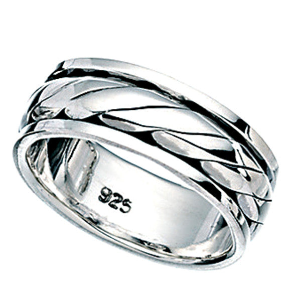 Mens Rope Rotating Band Ring from the Rings collection at Argenteus Jewellery